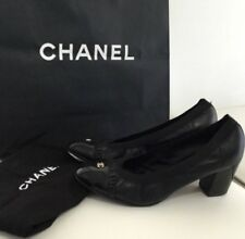 Authentic CHANEL Womens Slip On Heels Shoes Black Logo Pumps Italy US 9 IT 39