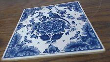 """antique vintage DELFT Blue blauw  floral & bird Tile - Hand Painted - 6"""" x 6"""""""