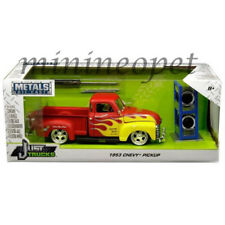 JADA 30355 1953 CHEVROLET PICKUP TRUCK 1/24 with EXTRA WHEELS MATTE RED w FLAMES