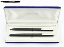 Vintage Rotring SET Fountain and Ballpoint Pen in Matte Black with old Blue Box