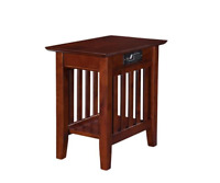 Mission Walnut End Table Rectangular Wood USB Port Charging Station Power Outlet