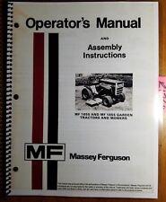 Massey Ferguson MF 1655 1855 Garden Tractor & Mower Operator Manual 1448 382 M2