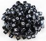 100Pcs 6mm SINGLE LETTER A-Z Acrylic Black Cube ALPHABET BEADS DIY JEWELRY