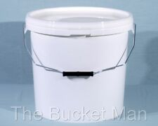 2 x 20 L Ltr Litre White Plastic Buckets Containers with Lids & Metal Handles