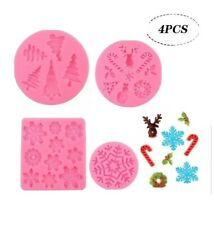 Bakhuk 3D Christmas Silicone Fondant Molds For Cookie Candy Cake Snowflakes etc