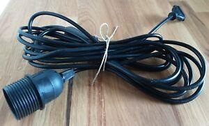 E27 Lampenfassung mit 5 Meter Kabel und Schalter schwarz 1 mal verwendet