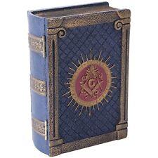 Antique-Look Freemason Masonic Symbol Book-Shaped Box Trinket Hand Painted Resin