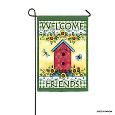 Flag Garden Welcome Friends Evergreen Presents Reflections Birdhouse Dragonfly