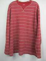 Men's Cotton Blend Long Sleeve Maroon & Gray Striped Thermal Waffle Knit Shirt