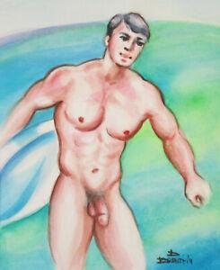 Original Watercolor Painting Male Nude Torso 2021