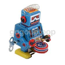 Vintage Wind Up Drumming Drum Robot Mechanical Clockwork Tin Toy Collectible