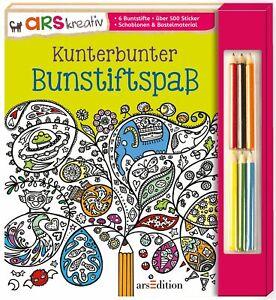 Kunterbunter Buntstiftspaß (Deutsch) Taschenbuch, Malbuch, Buntstifte