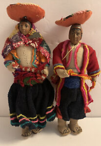 Vintage 1930s Kimport Peruvian Dolls Folk Art Handmade Antique Peru