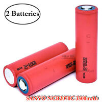 2x Sanyo NCR2070C 30A 3500mAh Rechargeable Flat Top High Drain 20700 Battery