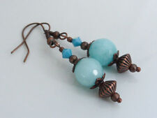 Hook Copper Round Stone Costume Earrings