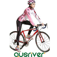 Women Bike Bicycle Cycling Long Sleeve Warm Line Clothes Jersey Pants Pad Suit