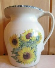 "Vintage 1999 Home & Garden Party 8"" Pitcher Sunflower Design Stoneware"
