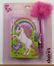 Claire's Unicorn / Rainbow Diary with Lock and Pen