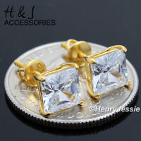 925 STERLING SILVER LAB DIAMOND 10MM SQUARE GOLD SCREW BACK STUD EARRING*GE147