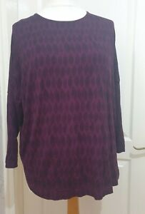 MASAI Size M Purple Jersey Bess Top With Black Abstract Leaf Print- Lagenlook