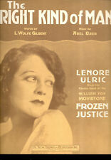 "FROZEN JUSTICE Sheet Music ""The Right Kind Of Man"" Lenore Ulric"