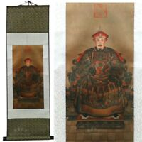 Chinese Qing Dynasty Emperor Portrait on Large Silk Scroll