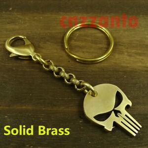 "Solid Brass "" Skull tag "" pants Jeans pendant key chain snap hook biker H792"