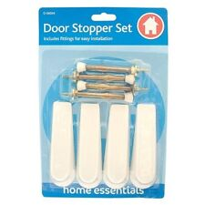DOOR STOP 8 PIECE WHITE STOPPER WEDGE AND SPRING SET home essentials