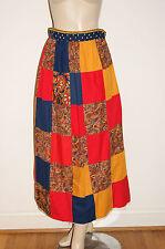 Handmade Vintage 60's 70's Mod Hippie Patchwork Quilt Maxi Skirt - Small