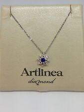 collana donna oro bianco 18 kt 750% artlinea diamanti zaffiro cd249 punto luce