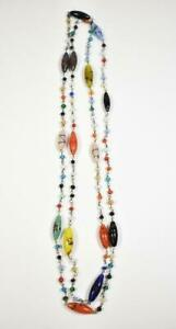 """Vintage Murano Glass Multi Colored Beaded Necklace 46"""""""