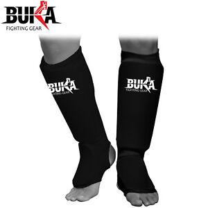 Buka Gel Shin Instep MMA Leg Kick Guard Muay Thai TKD Protector Pads UFC Guards