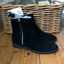 New H&M Ankle Boots Suede Leather Black Fur Lining UK 8 EU 42 Zip Up Flat Flats