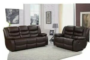 NEW Roma Leather Recliner Suite 3 + 2 Seater Brown Recliner Sofa Set Cupholder