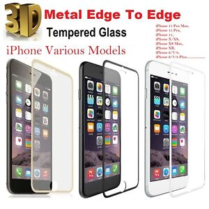 For iPhone 8 Screen Protector 3D Curved Edge to Edge Tempered Glass Metal edge