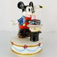Schmid Ceramic Mickey Mouse Rotating Music Box w/ Birthday Cake Vintage Figurine