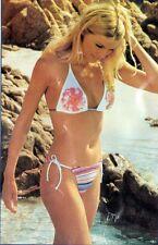 Sexy 2 pc Anisea String Bikini Swimsuit-White Floral Stripe Print(L)