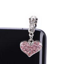 Universal 3.5mm Cristal Corazón Colgantes Anti Polvo Auricular Toma Conector Para IPhone S&K