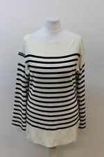 GPG JEANS Ladies Ivory & Black Cotton Long Sleeve Striped Jumper IT44 UK12