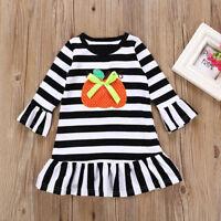 Toddler Baby Girls Dress Pumpkin Cartoon Print Stripe Dresses Halloween Outfits