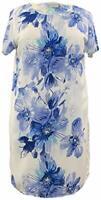Susan Graver Large Blue Floral Chiffon Tunic Blouse w/Tank A352224