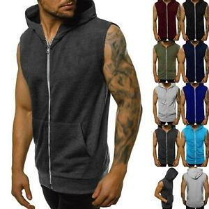 Mens Sleeveless Hoodie Casual Gilet Sweatshirt Hooded Zipper Jacket Jumper Top