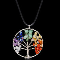 Pendant Necklace Natural Gemstone Tree of Life 7 Chakra Healing Crystal Charm