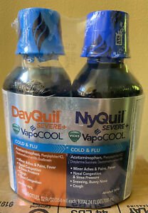 Vicks Vapocool DayQuil NyQuil Severe Cold & Flu Liquid 12oz ea. Exp: 12/2021