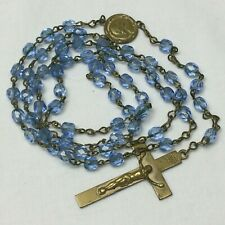 Vintage Religious Rosary Blue Glass Beads