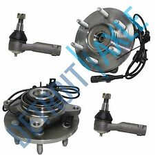 Pair of 2 Front Wheel Hub and Bearing Assembly ABS 6 Bolt 4WD + 2 Outer Tie Rod