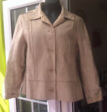 NEXT WOMENS BEIGE FAUX SUEDE OUTER BUTTON UP JACKET - SIZE 16