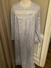 croft and barrow large l nightgown new nwt cotton lined satin blue