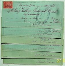 1898 Hocking Valley National Bank, Lancaster Ohio - 7  Checks,  IR  Stamps
