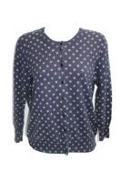J. Crew Cardigan Women's Clare Cardigan Blue White Polka Dot Sweater - Size M